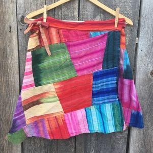 VTG Gorgeous Patchwork Boho Hippie Wrap Skirt